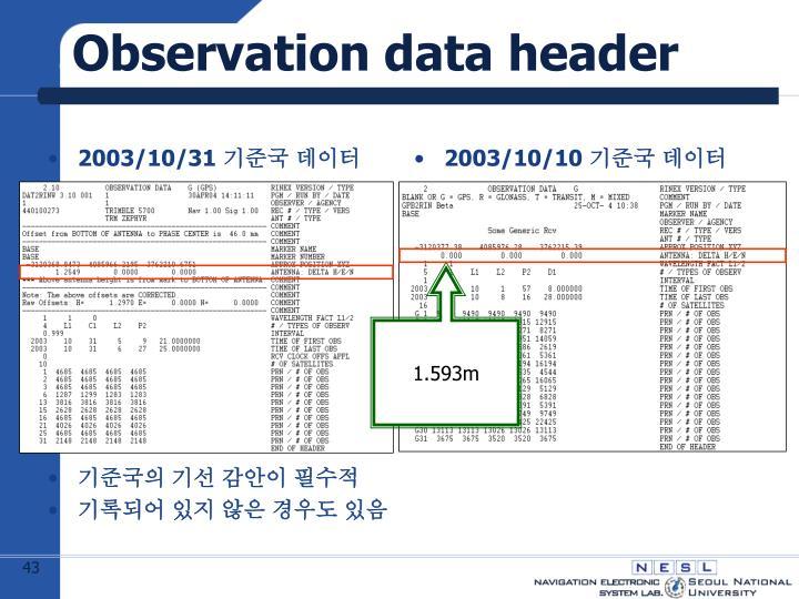 Observation data header