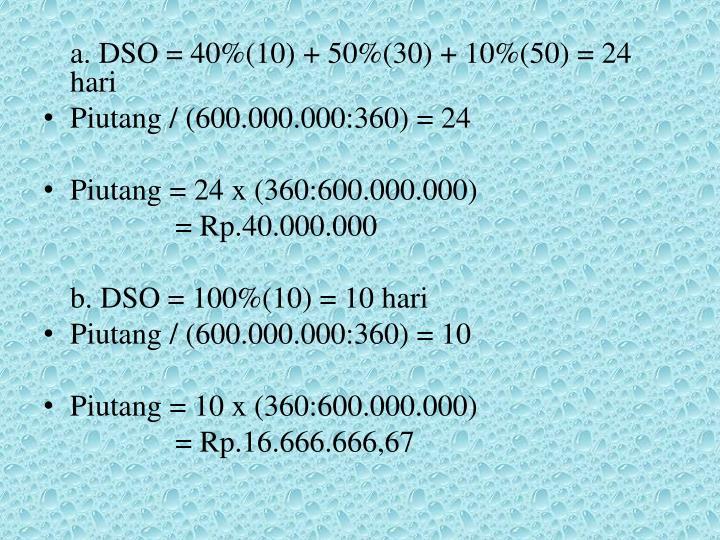 a. DSO = 40%(10) + 50%(30) + 10%(50) = 24 hari
