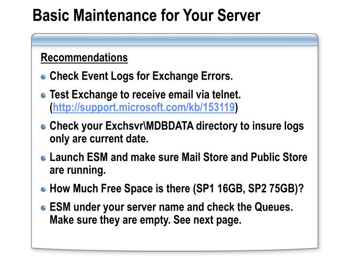 Basic Maintenance for Your Server
