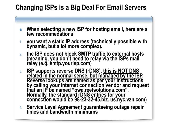Changing ISPs is a Big Deal For Email Servers