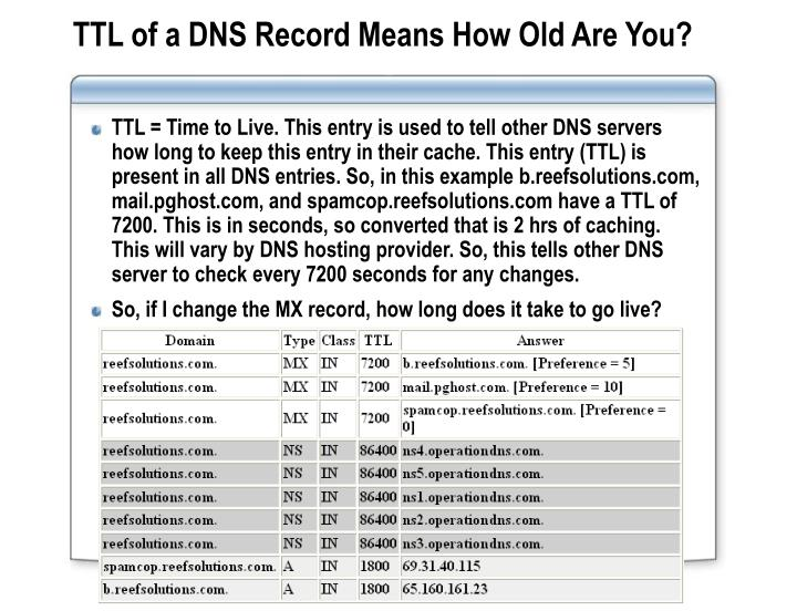 TTL of a DNS Record Means How Old Are You?