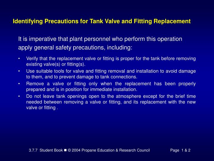 Identifying Precautions for Tank Valve and Fitting Replacement