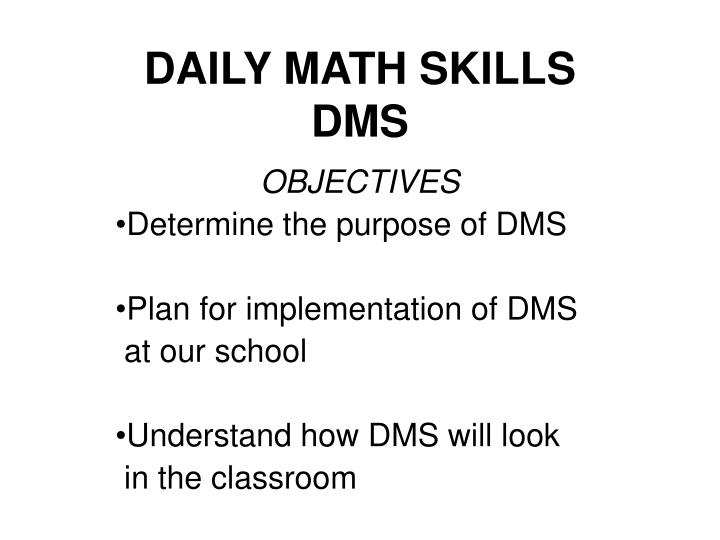 Daily math skills dms