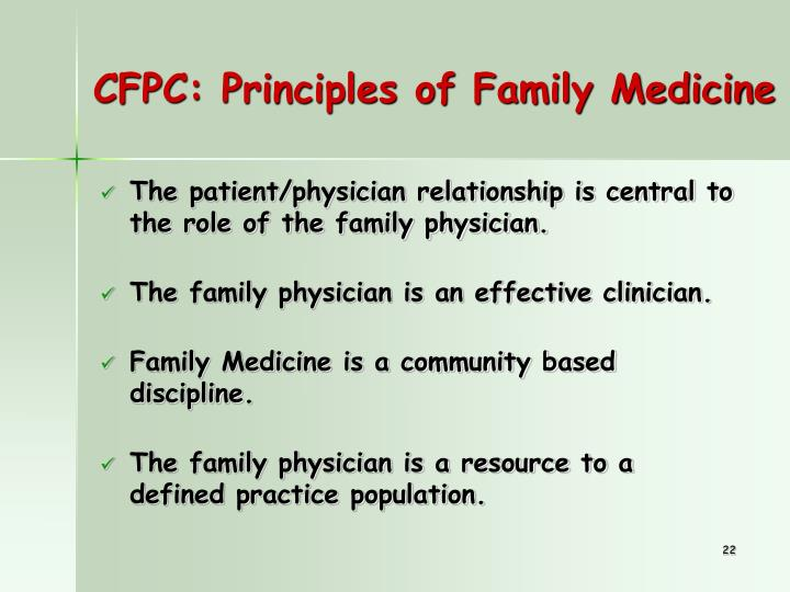CFPC: Principles of Family Medicine