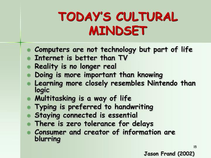 TODAY'S CULTURAL MINDSET