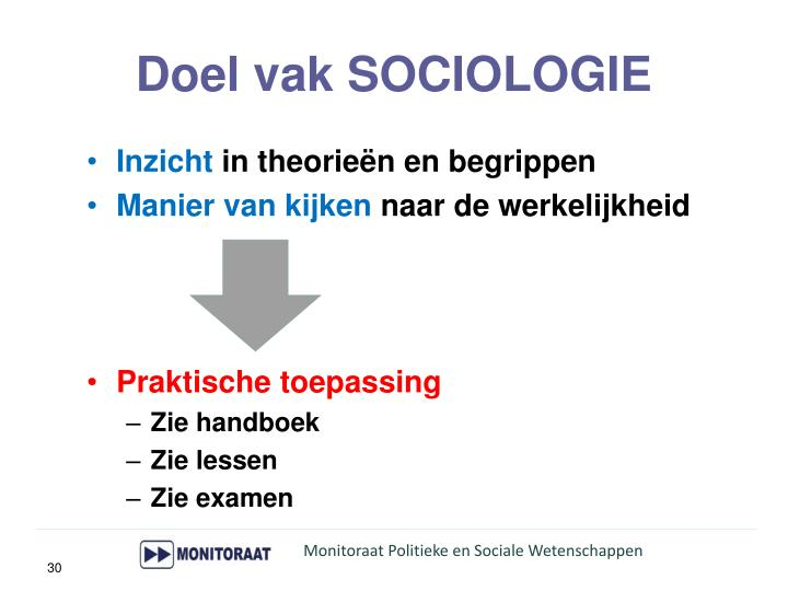 Doel vak SOCIOLOGIE