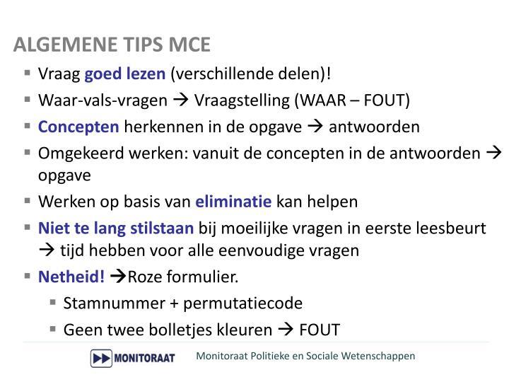 ALGEMENE TIPS MCE