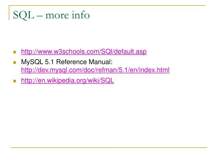 SQL – more info