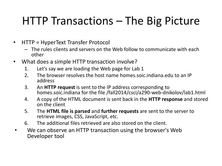 HTTP Transactions – The Big Picture