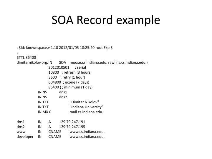 SOA Record example
