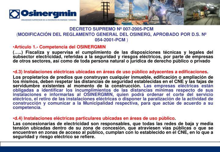 DECRETO SUPREMO Nº 007-2005-PCM
