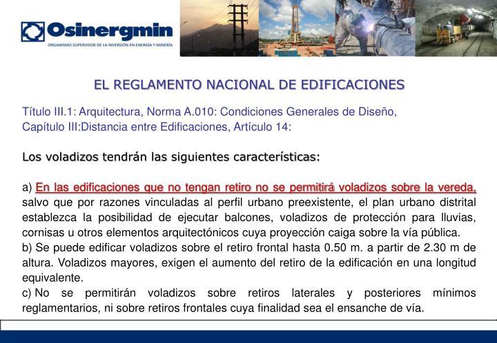 EL REGLAMENTO NACIONAL DE EDIFICACIONES