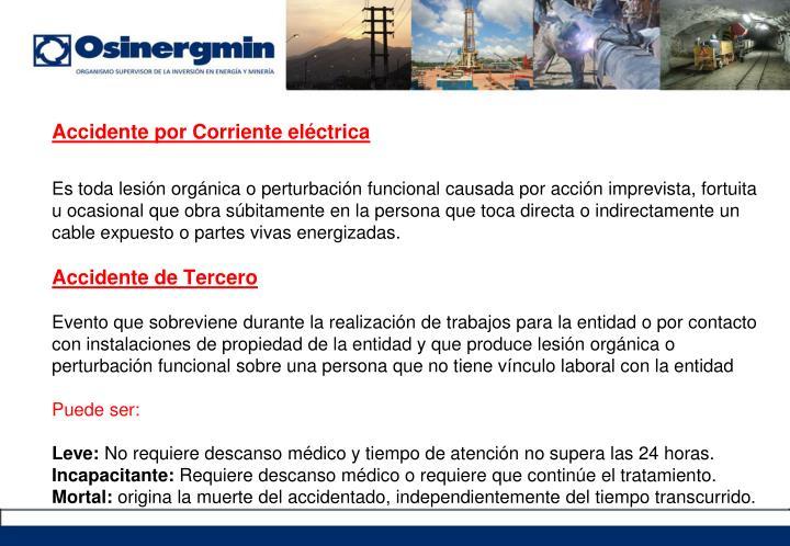 Accidente por Corriente eléctrica