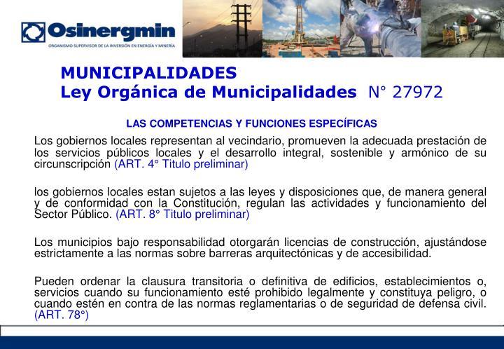 LAS COMPETENCIAS Y FUNCIONES ESPECÍFICAS