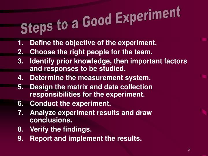 Steps to a Good Experiment