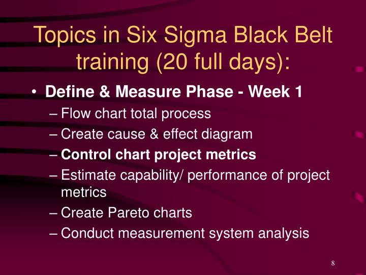 Topics in Six Sigma Black Belt training (20 full days):
