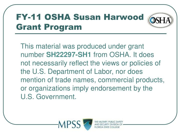 FY-11 OSHA Susan Harwood Grant Program