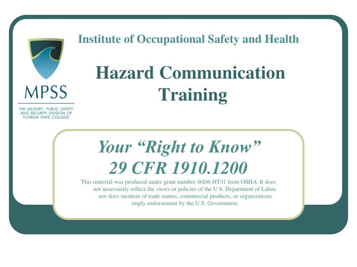 Hazard communication training