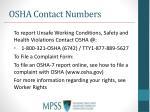 osha contact numbers