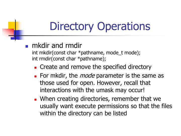 Directory Operations