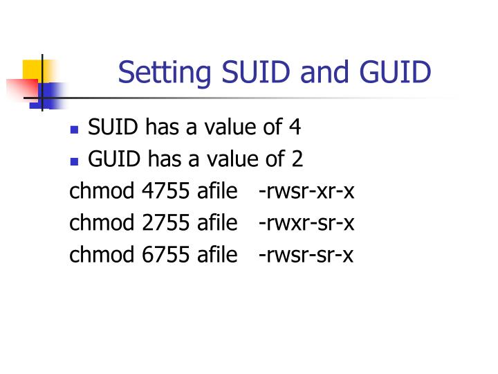Setting SUID and GUID