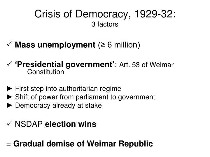 Crisis of Democracy, 1929-32:
