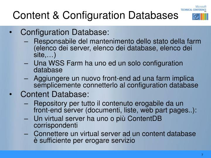 Content & Configuration Databases