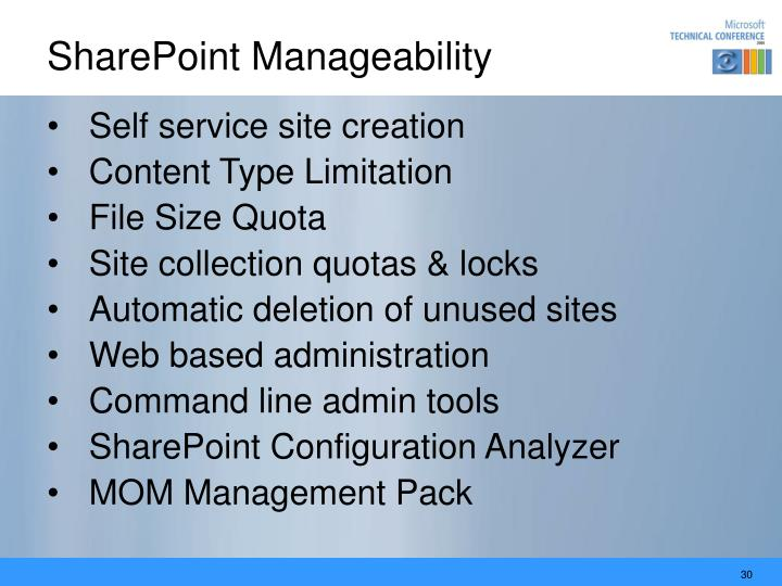 SharePoint Manageability