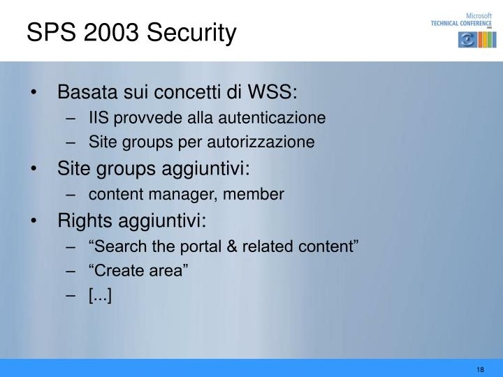 SPS 2003 Security