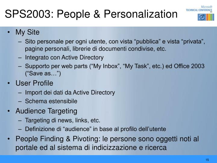 SPS2003: People & Personalization