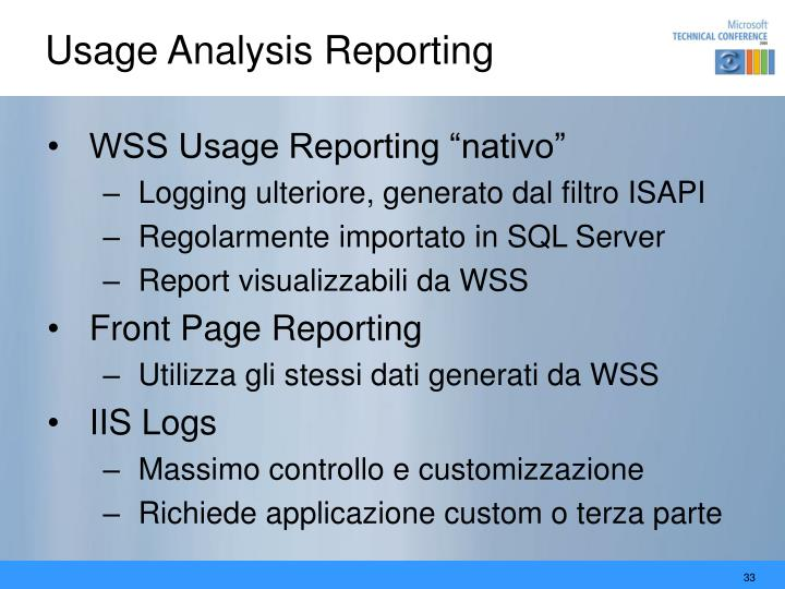 Usage Analysis Reporting