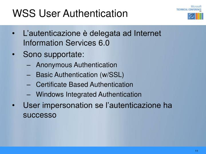 WSS User Authentication
