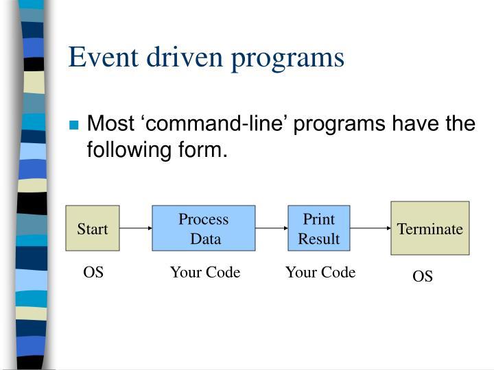 Event driven programs