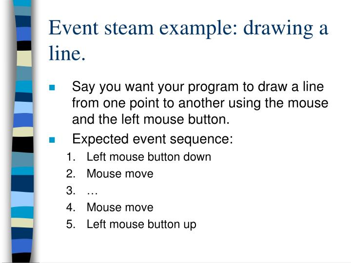 Event steam example: drawing a line.