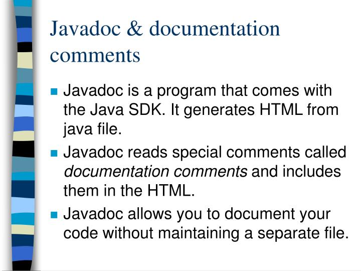 Javadoc & documentation comments
