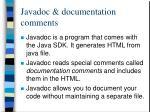 javadoc documentation comments