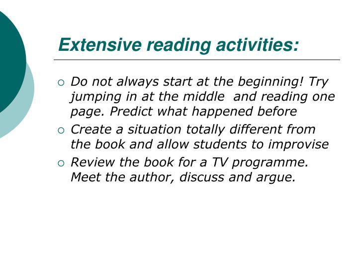 Extensive reading activities: