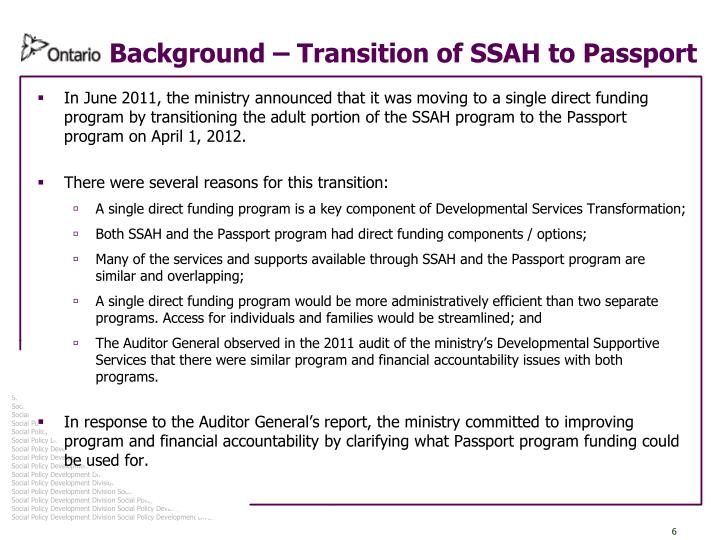 Background – Transition of SSAH to Passport
