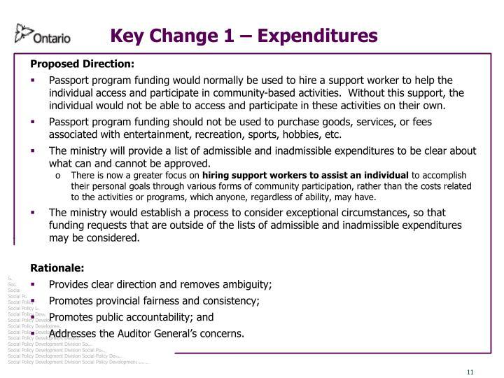 Key Change 1 – Expenditures