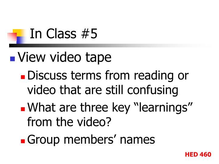 In Class #5