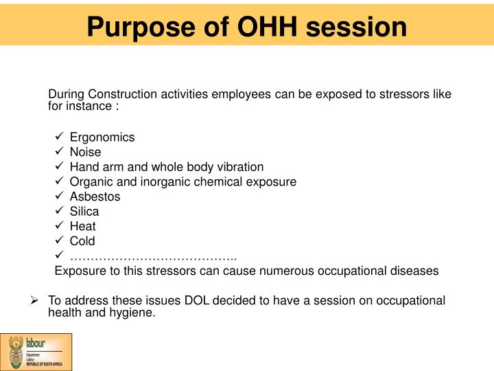 Purpose of OHH session