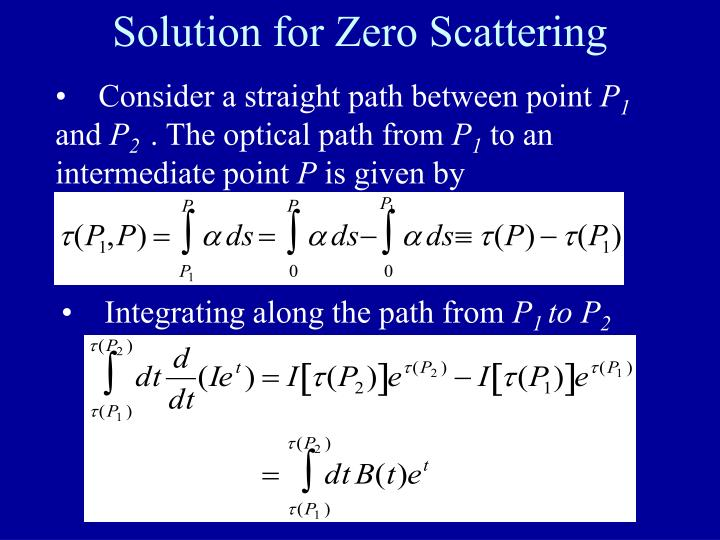 Solution for Zero Scattering