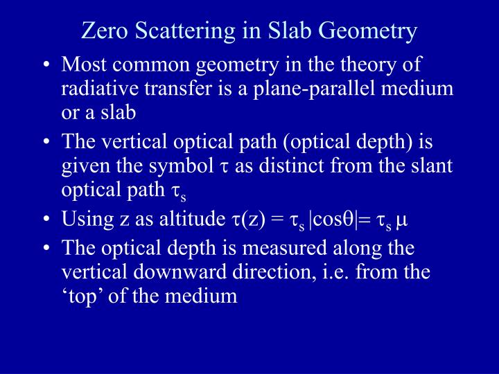 Zero Scattering in Slab Geometry