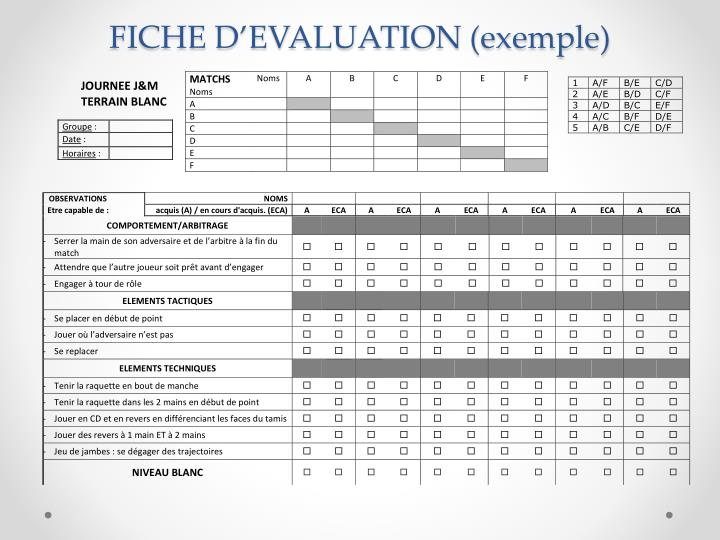 FICHE D'EVALUATION (exemple)