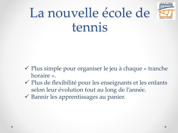 La nouvelle école de tennis