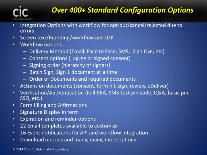 Over 400+ Standard Configuration Options