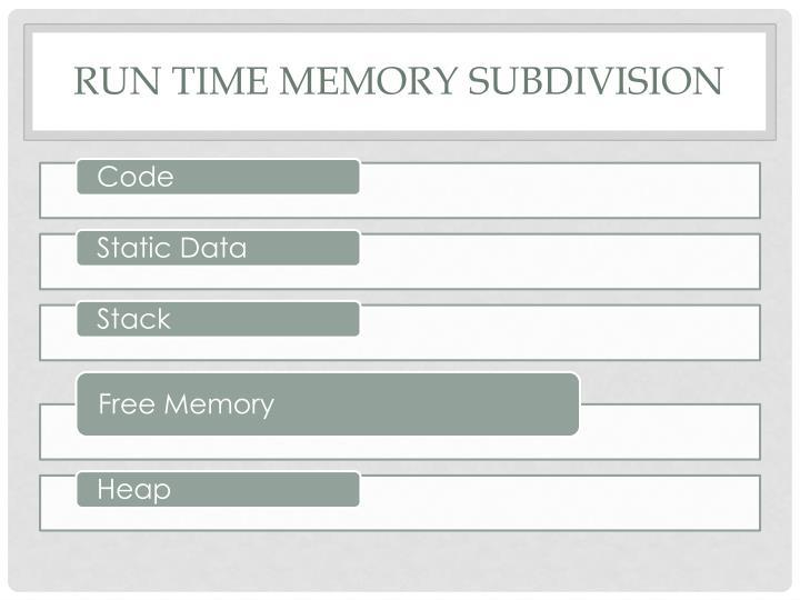 Run Time memory subdivision