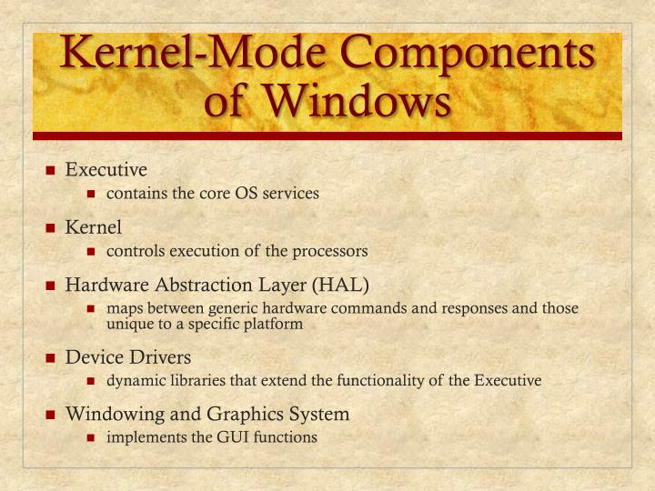 Kernel-Mode Components of Windows