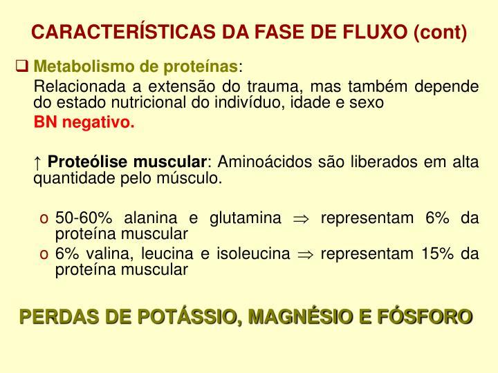 CARACTERÍSTICAS DA FASE DE FLUXO (cont)