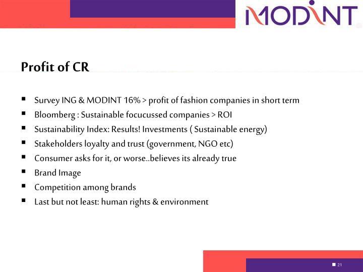 Profit of CR